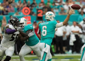 Miami Dolphins quarterback Jay Cutler(6), right, makes a pass after being pressured by Baltimore Ravens outside linebacker Terrell Suggs (55), left during Thursday night's game at Hard Rock Stadium. Randy Vazquez, South Florida Sun-Sentinel