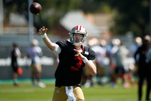 San Francisco 49ers' quarterback C.J. Beathard (3) throws a pass during training camp at the teams' practice facility in Santa Clara, Calif., on Tuesday, July 31, 2018. (Randy Vazquez/ Bay Area News Group)