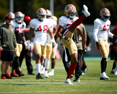 San Francisco 49ers' cornerback Ahkello Witherspoon (23), center, warms up during training camp at the teams' practice facility in Santa Clara, Calif., on Tuesday, July 31, 2018. (Randy Vazquez/ Bay Area News Group)