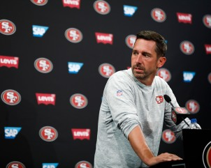 San Francisco 49ers' head coach Kyle Shanahan talks to the media after training camp at the teams' practice facility in Santa Clara, Calif., on Tuesday, July 31, 2018. (Randy Vazquez/ Bay Area News Group)