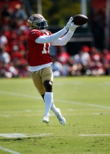 San Francisco 49ers' wide receiver Marquise Goodwin (11) catches a pass during training camp at the teams' practice facility in Santa Clara, Calif., on Tuesday, July 31, 2018. (Randy Vazquez/ Bay Area News Group)