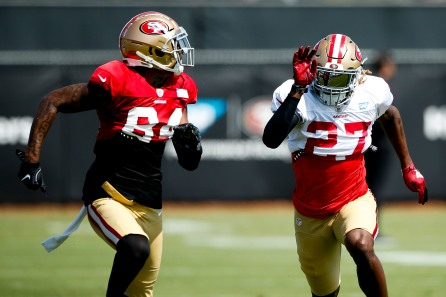 San Francisco 49ers' wide receiver Kendrick Bourne (84), left, and teammate defensive back Adrian Colbert (27), right, run a one-on-one drill during training camp at the teams' practice facility in Santa Clara, Calif., on Tuesday, July 31, 2018. (Randy Vazquez/ Bay Area News Group)