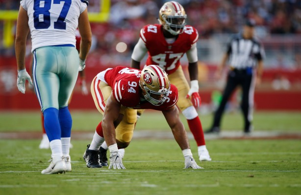 San Francisco 49ers' Solomon Thomas (94), gets in his stance in the first quarter of their preseason NFL game versus the Dallas Cowboys at Levi's Stadium in Santa Clara, Calif., on Thursday, Aug. 9, 2018. (Randy Vazquez/ Bay Area News Group)