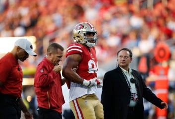 San Francisco 49ers' Solomon Thomas (94) gets taken off the field in the first quarter of their preseason NFL game versus the Dallas Cowboys at Levi's Stadium in Santa Clara, Calif., on Thursday, Aug. 9, 2018. (Randy Vazquez/ Bay Area News Group)