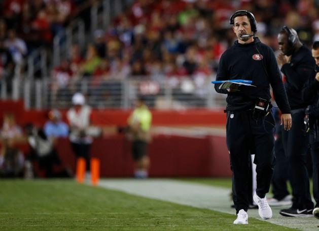 San Francisco 49ers head coach Kyle Shanahan during the third quarter of their preseason NFL game versus the Dallas Cowboys at Levi's Stadium in Santa Clara, Calif., on Thursday, Aug. 9, 2018. (Randy Vazquez/ Bay Area News Group)