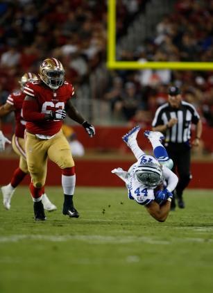 Dallas Cowboys' Darius Jackson (44) gets tackled in the third quarter of their preseason NFL game versus the San Francisco 49ers at Levi's Stadium in Santa Clara, Calif., on Thursday, Aug. 9, 2018. (Randy Vazquez/ Bay Area News Group)