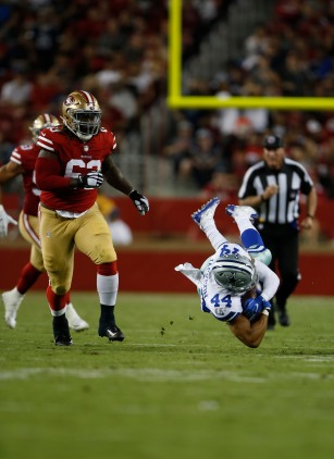 Dallas Cowboys' Darius Jackson (44) gets tackled in the third quarter of their preseason NFL game versus the San Francisco 49ers at Levi's Stadium in Santa Clara, Calif., on Thursday, Aug. 9, 2018. (Randy Vazquez/ Bay Area News Group)
