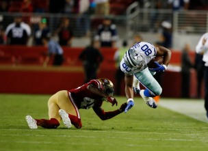 Dallas Cowboys' Rico Gathers (80), right, gets tackled by San Francisco 49ers' Tarvarius Moore (45), left, in the closing seconds of their preseason NFL game at Levi's Stadium in Santa Clara, Calif., on Thursday, Aug. 9, 2018. (Randy Vazquez/ Bay Area News Group)