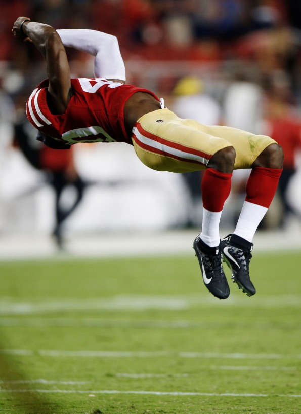 San Francisco 49ers' D.J. Reed Jr. (40) does a backflip in after their preseason win versus the Dallas Cowboys at Levi's Stadium in Santa Clara, Calif., on Thursday, Aug. 9, 2018. The 49ers would win the game 24-21 over the Cowboys. (Randy Vazquez/ Bay Area News Group)