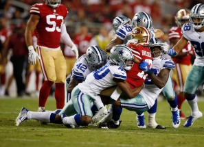 San Francisco 49ers' Victor Bolden Jr. (17) gets tackled by Dallas Cowboys defenders in the fourth quarter of their preseason NFL game at Levi's Stadium in Santa Clara, Calif., on Thursday, Aug. 9, 2018. (Randy Vazquez/ Bay Area News Group)