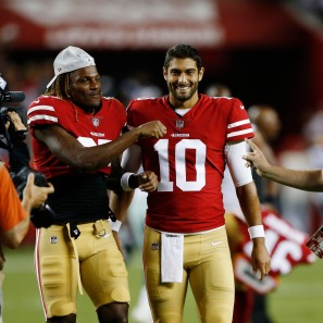 San Francisco 49ers' Adrian Colbert (27), left, smiles with quarterback Jimmy Garoppolo (10), right, after their preseason NFL game at Levi's Stadium in Santa Clara, Calif., on Thursday, Aug. 9, 2018. The 49ers would go one to win the game 24-21 over the Dallas Cowboys. (Randy Vazquez/ Bay Area News Group)