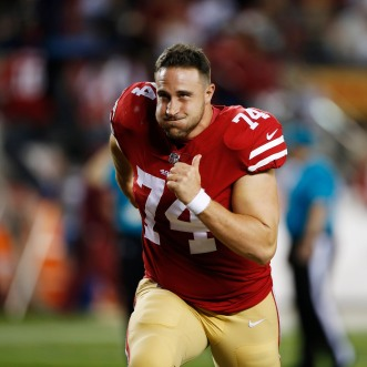 San Francisco 49ers' Joe Staley (74) runs off the field after his teams preseason NFL game versus the Dallas Cowboys at Levi's Stadium in Santa Clara, Calif., on Thursday, Aug. 9, 2018. The 49ers would win the game 24-21 over the Cowboys. (Randy Vazquez/ Bay Area News Group)