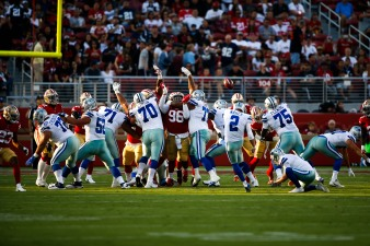 San Francisco 49ers players try and block a field goal from Dallas Cowboys' Brett Maher (2) in the first quarter of their preseason NFL game at Levi's Stadium in Santa Clara, Calif., on Thursday, Aug. 9, 2018. (Randy Vazquez/ Bay Area News Group)