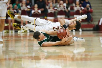 Las Lomas' Nathan Robinson (24), top, tussles with Palo Alto's Jared Wulbrun (4), bottom, for a ball in the third quarter of the CIF NorCal Division I boys championship game at Leavey Center in Santa Clara, Calif. on Saturday, March 17, 2018. (Randy Vazquez/ Bay Area News Group)
