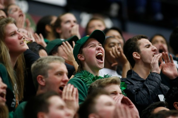 Palo Alto fans cheer in the fourth quarter of the CIF NorCal Division I boys championship game at Leavey Center in Santa Clara, Calif. on Saturday, March 17, 2018. (Randy Vazquez/ Bay Area News Group)