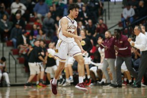 Las Lomas' Devin Payne (23) celebrates after his team extends the lead in the fourth quarter of the CIF NorCal Division I boys championship game at Leavey Center in Santa Clara, Calif. on Saturday, March 17, 2018. (Randy Vazquez/ Bay Area News Group)