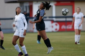 Mountain View's Janvi Subramanyan (23) head the ball in the fist half of the Central Coast Section Open Division girls soccer final at Buck Shaw Field in Santa Clara, Calif. on Friday, March 2, 2018. (Randy Vazquez/ Bay Area News Group)