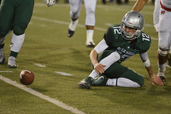 De La Salle's Erich Storti (12) watches the ball roll away after a failed punt attempt in the second quarter of the 2017 CIF State Football Championship Open Division Bowl Game at Sacramento State University in Sacramento, Calif. on Saturday, Dec. 16, 2017. (Randy Vazquez/Bay Area News Group)