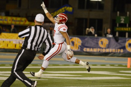 Mater Dei's Mase Funa (47) points to the sky after recovering a fumble in the first quarter of their 2017 CIF State Football Championship Open Division Bowl Game at Sacramento State University in Sacramento, Calif. on Saturday, Dec. 16, 2017. (Randy Vazquez/Bay Area News Group)