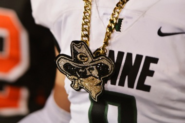 Narbonne's Logan Taylor (6) wears a chain with the school's mascot after the 2017 CIF State Football Championship Division 1-A Bowl Game against Pittsburg High at Sacramento State University in Sacramento, Calif., on Saturday, Dec. 16, 2017. Narbonne defeated Pittsburg 28-21. (Randy Vazquez/Bay Area News Group)