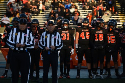 Pittsburg players look on from the sideline before the 2017 CIF State Football Championship Division 1-A Bowl Game at Sacramento State University in Sacramento, Calif. on Saturday, Dec. 16, 2017. (Randy Vazquez/Bay Area News Group)