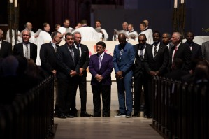 Family, local leaders and some former NFL players attend a private memorial service for San Francisco 49ers great Dwight Clark at Grace Cathedral in San Francisco on Wednesday, Aug. 1, 2018. Former 49ers owner Eddie DeBartolo, center, is joined by former players, Joe Montana, to DeBartolo's right, and to his left, Jerry Rice, Roger Craig and Dwight Hicks, among others, during the service. (Randy Vazquez/ Bay Area News Group)