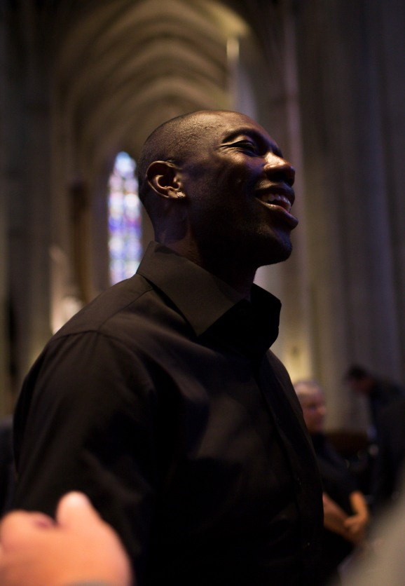 Terrell Owens smiles while talking to some people after a private memorial service for San Francisco 49ers great Dwight Clark at Grace Cathedral in San Francisco on Wednesday, Aug. 1, 2018. (Randy Vazquez/ Bay Area News Group)