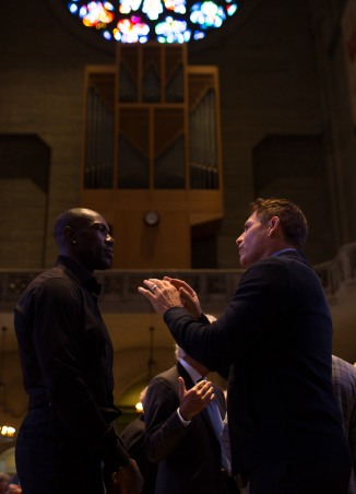 Former NFL players Steve Young, right, and Terrell Owens, left, talk after a private memorial service for San Francisco 49ers great Dwight Clark at Grace Cathedral in San Francisco on Wednesday, Aug. 1, 2018. (Randy Vazquez/ Bay Area News Group)