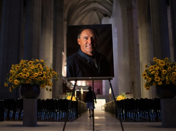A photograph of San Francisco 49ers great Dwight Clark is placed near the entrance of Grace Cathedral in San Francisco on Wednesday, Aug. 1, 2018. A private memorial service was held for Clark, where many of his former teammates, family and local leaders showed up to pay their respects. (Randy Vazquez/ Bay Area News Group)