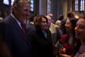 Democratic Leader Nancy Pelosi, center, and husband Paul, left, where a few of the local leaders who attended a private memorial service for San Francisco 49ers great Dwight Clark at Grace Cathedral in San Francisco on Wednesday, Aug. 1, 2018. (Randy Vazquez/ Bay Area News Group)