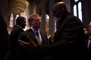 NFL commissioner Roger Goodell, left, and Dr. Harry Edwards, right talk after a private memorial service for San Francisco 49ers great Dwight Clark at Grace Cathedral in San Francisco on Wednesday, Aug. 1, 2018. (Randy Vazquez/ Bay Area News Group)