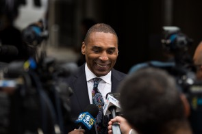 Former NFL running back Roger Craig smiles while talking to the media before a private memorial service for San Francisco 49ers great Dwight Clark at Grace Cathedral in San Francisco on Wednesday, Aug. 1, 2018. (Randy Vazquez/ Bay Area News Group)