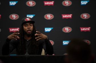San Francisco 49ers' cornerback Richard Sherman (25) talks to the media at the teams' practice facility in Santa Clara, Calif., on Wednesday, July 25, 2018. (Randy Vazquez/ Bay Area News Group)