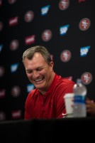 San Francisco 49ers' general manager John Lynch smiles while talking to the media at the teams' practice facility in Santa Clara, Calif., on Wednesday, July 25, 2018. (Randy Vazquez/ Bay Area News Group)