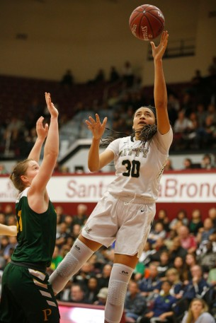 Archbishop Mitty's Haley Jones (30), right, goes in for a layup in the second quarter of the CIF NorCal Open Division girls championship game at Leavey Center in Santa Clara, Calif. on Saturday, March 17, 2018. (Randy Vazquez/ Bay Area News Group)