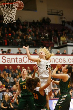 Archbishop Mitty's Hunter Hernandez (20) scores a layup in the third quarter of the CIF NorCal Open Division girls championship game at Leavey Center in Santa Clara, Calif. on Saturday, March 17, 2018. (Randy Vazquez/ Bay Area News Group)
