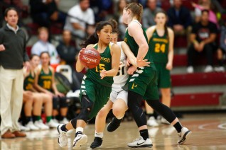 Pinewood's Brianna Claros (15) dribbles around her teammate in the third quarter of the CIF NorCal Open Division girls championship game at Leavey Center in Santa Clara, Calif. on Saturday, March 17, 2018. (Randy Vazquez/ Bay Area News Group)