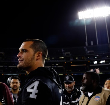 Oakland Raiders quarterback Derek Carr (4) after his teams preseason NFL game versus the Detroit Lions at the Coliseum in Oakland, Calif., on Friday, Aug. 10, 2018. The Raiders would win the game 16-10 over the Lions. (Randy Vazquez/ Bay Area News Group)