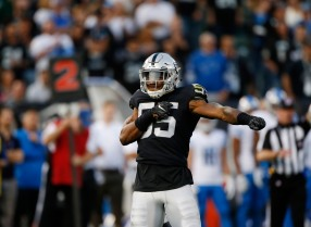Oakland Raiders' Marquel Lee (55), celebrates after a tackled in the second quarter of their preseason NFL game versus the Detroit Lions at the Coliseum in Oakland, Calif., on Friday, Aug. 10, 2018. (Randy Vazquez/ Bay Area News Group)