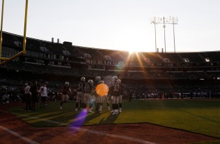 Oakland Raiders players warm up before their preseason NFL game versus the Detroit Lions at the Coliseum in Oakland, Calif., on Friday, Aug. 10, 2018. (Randy Vazquez/ Bay Area News Group)