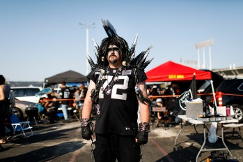 """A portrait of Robert """"Mayhem Raider"""" Montgomery before the Oakland Raiders preseason NFL game at the Coliseum in Oakland, Calif., on Friday, Aug. 10, 2018. Raider fans come from all across the country to support their team. Montgomery come from Seattle. (Randy Vazquez/ Bay Area News Group)"""