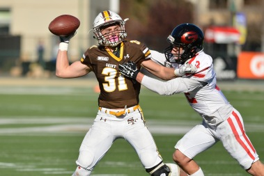 Saint Francis' Lucas Andrighetto (31) throws a pass during an extra point in the second quarter of their 2017 CIF State Football Championship Division 2-A Bowl Game at Sacramento State University in Sacramento, Calif. on Saturday, Dec. 16, 2017.(Randy Vazquez/Bay Area News Group)