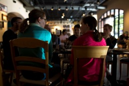 People have a conversation during a meetup organized by Asexuality SF in San Francisco on Sunday, July 15, 2018. (Randy Vazquez/ Bay Area News Group)