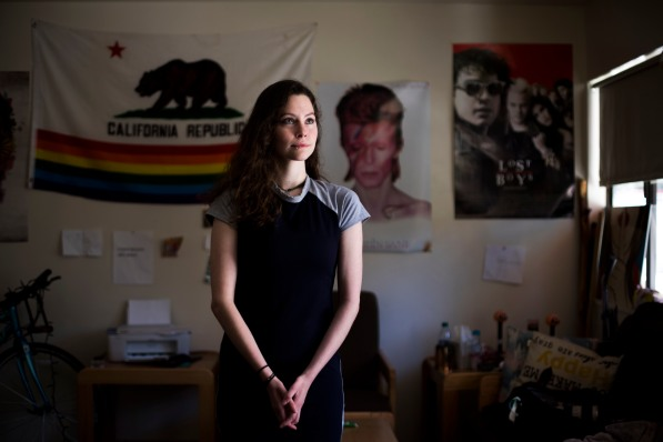 A portrait of Delaney Van Riper on Wednesday, May 9, 2018, in Santa Cruz, Calif. Van Riper, a UC Santa Cruz student, has a degenerative muscle condition called Charcot-Marie-Tooth disease. Van Riper hopes through the use of the gene-editing technology called CRISPR, she can overcome her condition. (Randy Vazquez/ Bay Area News Group)