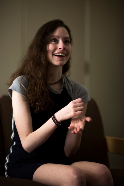 Delaney Van Riper smiles during an interview on Wednesday, May 9, 2018, in Santa Cruz, Calif. Van Riper, a UC Santa Cruz student, has a degenerative muscle condition called Charcot-Marie-Tooth disease. Van Riper hopes through the use of the gene-editing technology called CRISPR, she can overcome her condition. (Randy Vazquez/ Bay Area News Group)