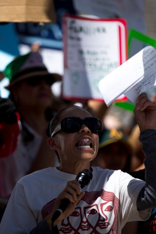 "Lizbertha Aliano speaks during a ""Families Belong Together"" rally in San Jose, Calif., on Saturday, June 30, 2018. Several rallies were held across the country to protest family separation at the U.S.-Mexico border under President Trump's ""zero tolerance"" policy. (Randy Vazquez/ Bay Area News Group)"
