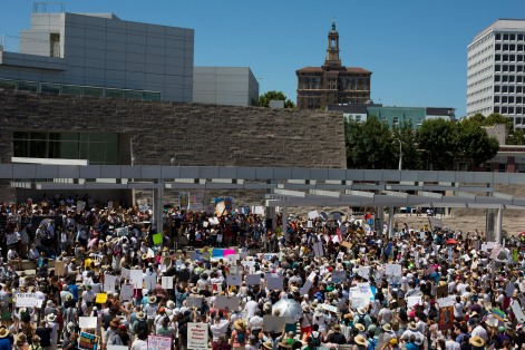 "About a thousand people gathered for a ""Families Belong Together"" rally at San Jose City Hall on Saturday, June 30, 2018. Several rallies were held across the country to protest family separation at the U.S.-Mexico border under President Trump's ""zero tolerance"" policy. (Randy Vazquez/ Bay Area News Group)"