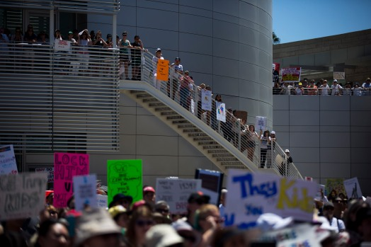 "About a thousand people gather for a ""Families Belong Together"" rally at San Jose City Hall on Saturday, June 30, 2018. Several rallies were held across the country to protest family separation at the U.S.-Mexico border under President Trump's ""zero tolerance"" policy. (Randy Vazquez/ Bay Area News Group)"