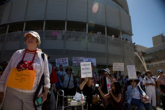 """About a thousand people gathered for a """"Families Belong Together"""" rally at San Jose City Hall on Saturday, June 30, 2018. Several rallies were held across the country to protest family separation at the U.S.-Mexico border under President Trump's """"zero tolerance"""" policy. (Randy Vazquez/ Bay Area News Group)"""