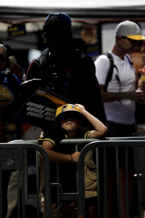 Dominic Villarreal, 11, waits patiently for the Golden State Warriors' championship parade in Oakland, Calif., on Tuesday, June 12, 2018. The Warriors recently swept the Cleveland Cavaliers in the NBA Finals to win their third championship in four years. (Randy Vazquez/ Bay Area News Group)